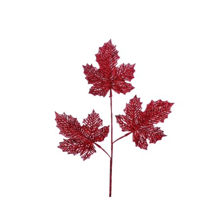 Christmas Leaves.Christmas Tradition Christmas Ornament Maple Leaves Sprig Red Glitter