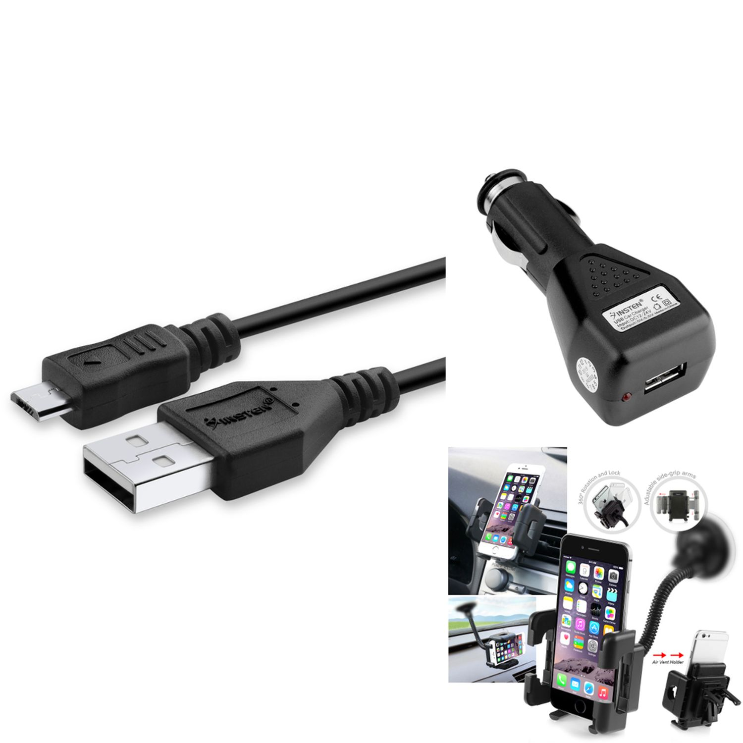 Insten Cell Phone Holder Vent Car Mount +CHARGER+USB CABLE FOR Samsung GALAXY Note 4 3 N9100 N9000