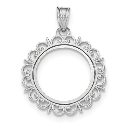 Roy Rose Jewelry 14K White Gold Fancy Polished Prong 1/10 American Eagle Coin Bezel