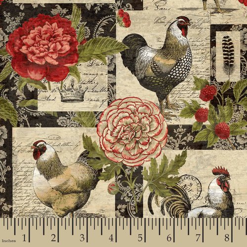 Springs Creative French Rooster Floral Patch Fabric by the Yard