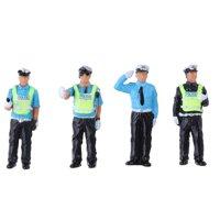 4PCS 1:64 Scale Figure Model Painted People Scenario Model Policemen/Firemen/Rescue Team/Police Dog Model
