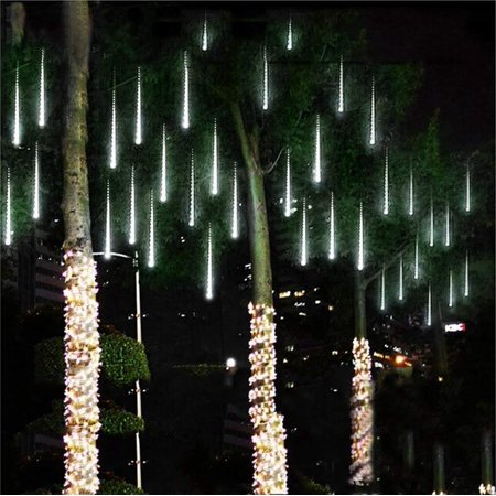 Meteor snow fall Shower rain drop Waterproof Led 30cm/50cm/8tubes white Christmas Lights ideal for indoor outdoor decorations(30cm, cold white) for $<!---->