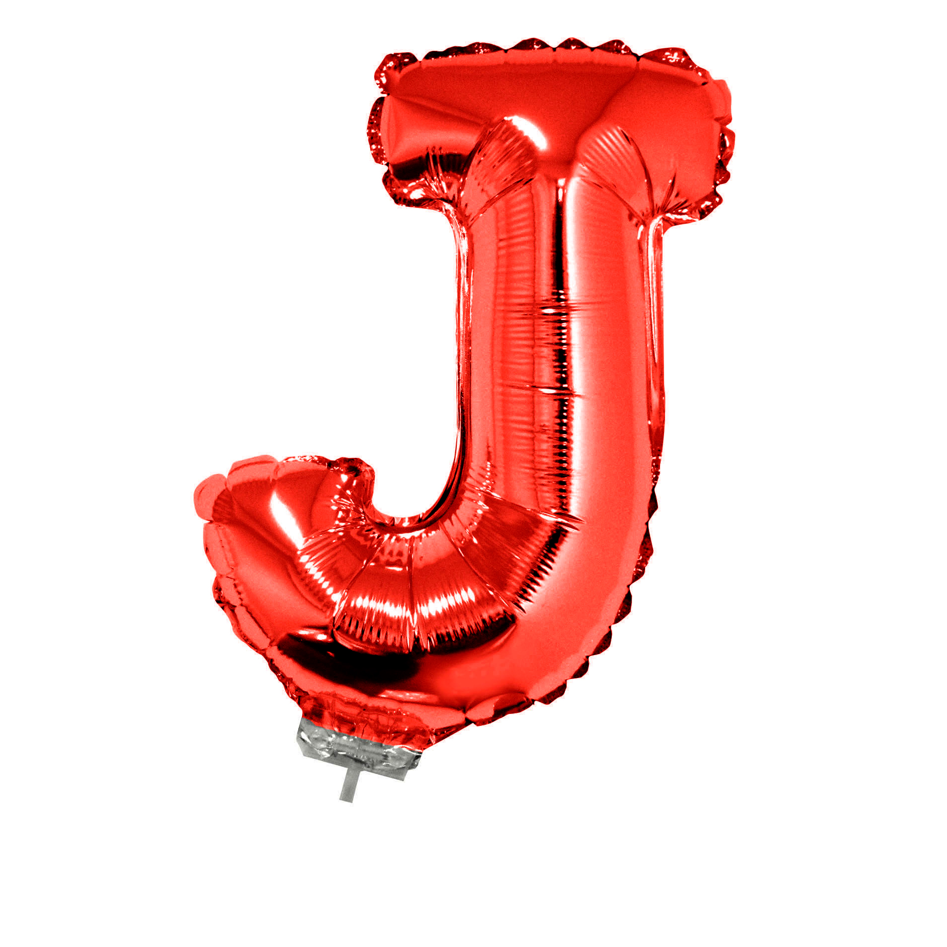 "Letter J Mini Jr. Shape Solid Helium Quality 16"" Foil Balloon, Red"