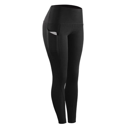 High Elastic Leggings Pant Women Solid Stretch Compression Sportswear Casual Yoga Jogging Leggings Pants With Pocket ( Black, 2XL )