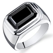 7.00 Ct Men's Black Onyx Engagement Ring in Rhodium-Plated Sterling Silver