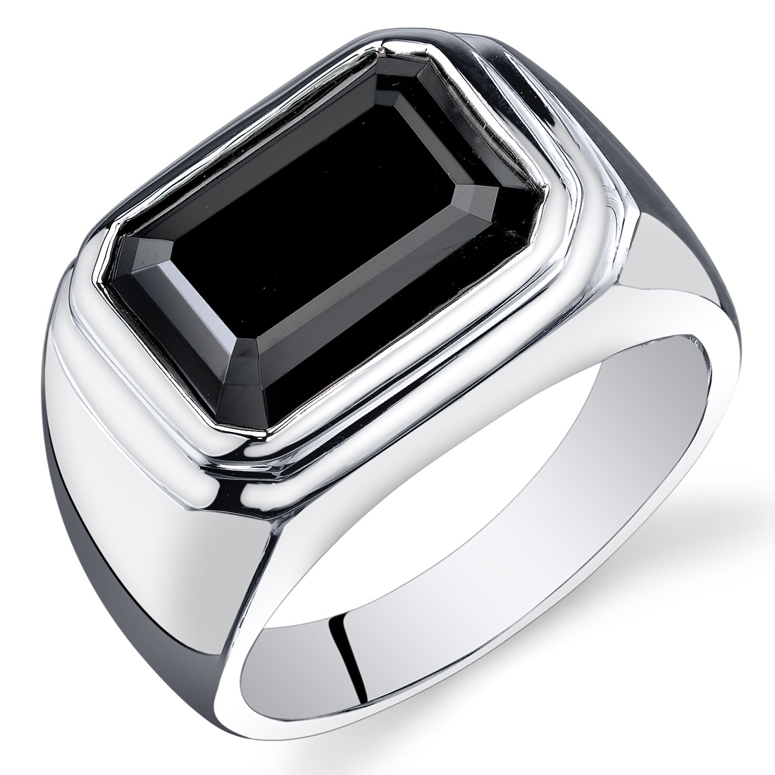 Peora 7.00 Ct Men's Black Onyx Engagement Ring in Rhodium-Plated Sterling Silver