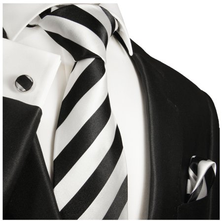 Black and Silver Striped Paul Malone Silk Tie with Accessories