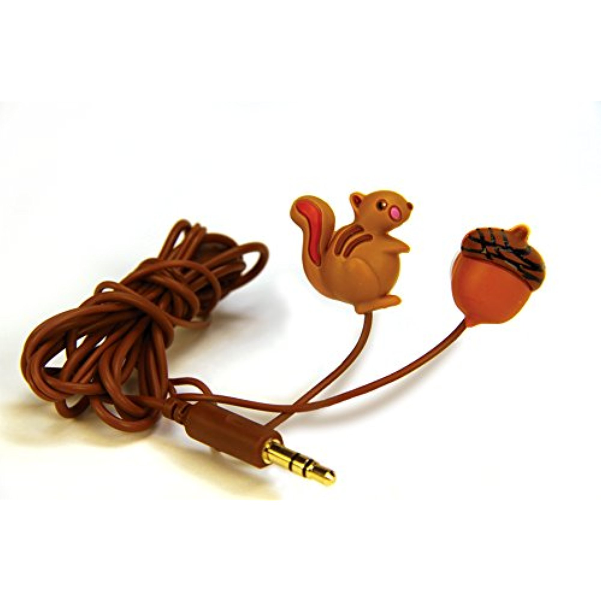 DCI Earbuds, Squirrel and Nut Headphone Earbuds - Brown