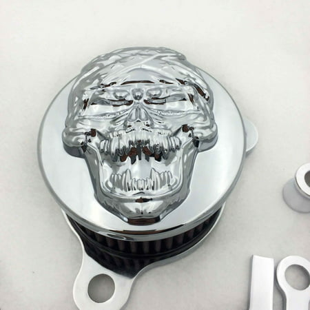HTT-MOTOR Chromed Skull Zombie Air Cleaner Intake Filter System Kit For Harley Sportster XL883 XL1200 1988-1990 1991 1992 1993 1994 1995 1996 1997 1998 1999 2010 2011 2012 2013 2014 2015