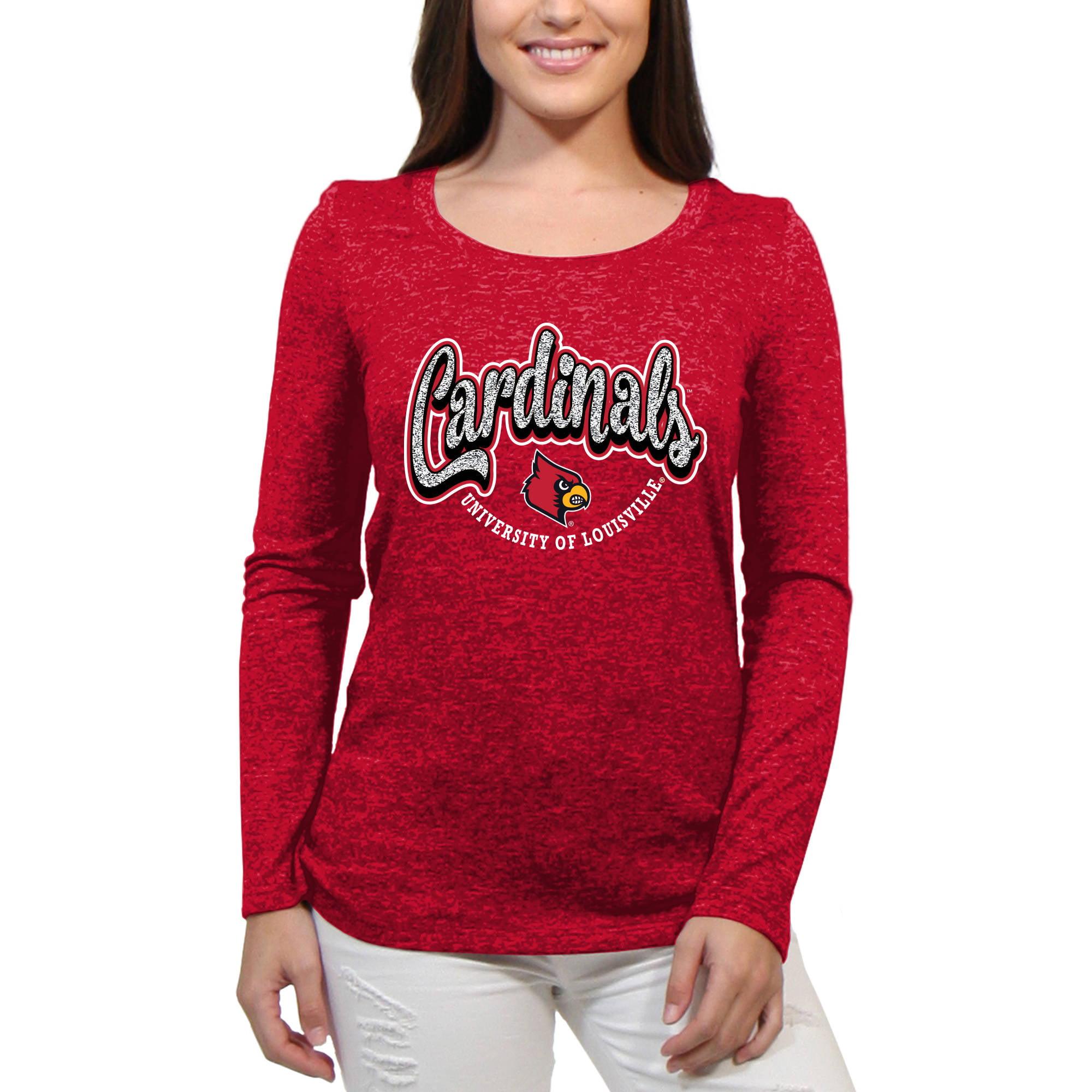 Louisville Cardinals Funky Script Women'S/Juniors Team Long Sleeve Scoop Neck Shirt