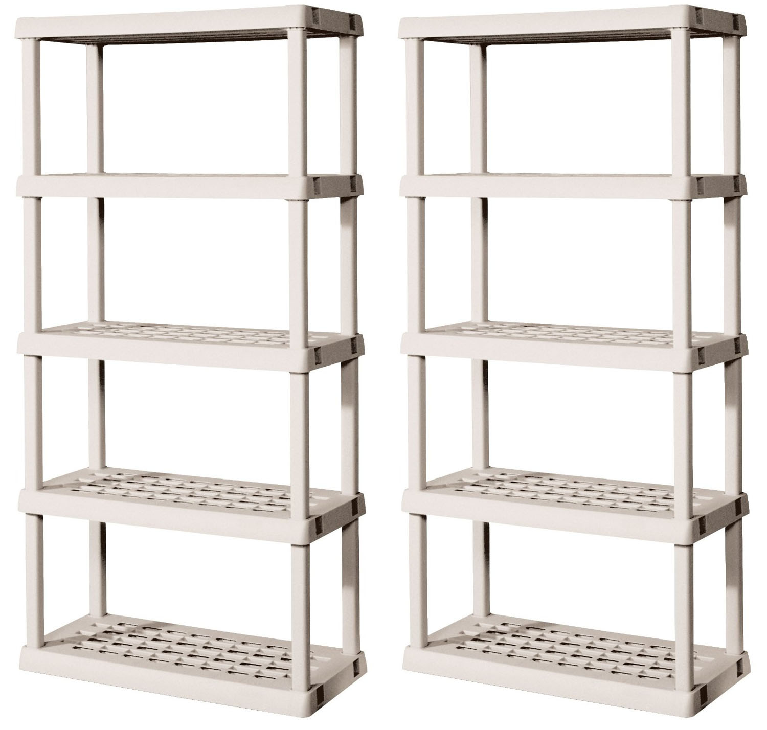 2) Sterilite 01558501 Durable 5-Shelf Upright Ventilated Shelving Storage Units