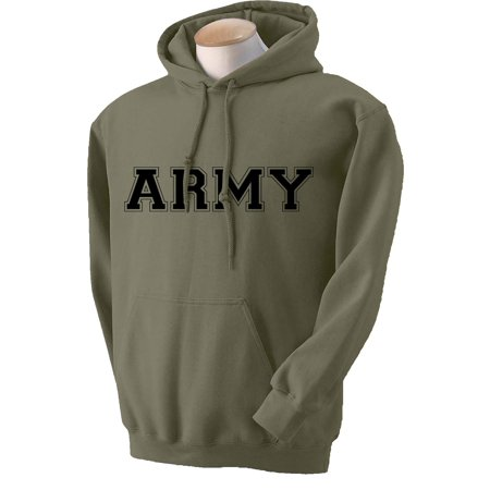 Athletic ARMY Hooded Sweatshirt in Military Green Army Logo Hooded Sweatshirt