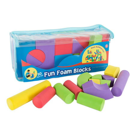 Kids Foam Building Blocks – Stacking Toys for Children Nontoxic EVA Shapes Creative Design Quiet Time Play Educational Sensory Toy by Hey! Play!