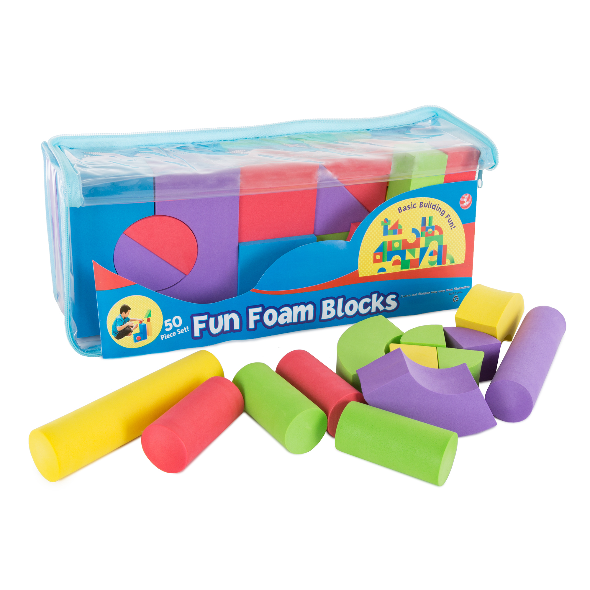 50-Piece Foam Building Blocks Non-toxic EVA by Hey! Play!