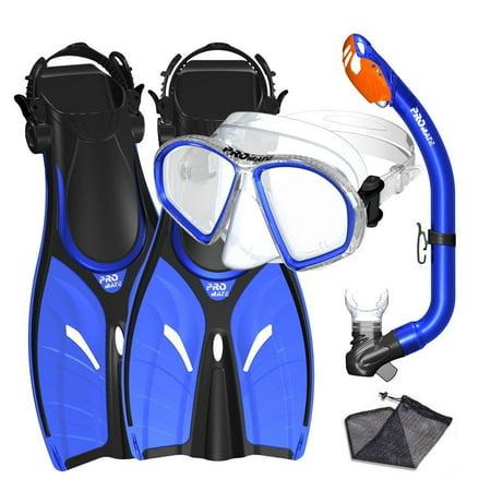 - Promate Junior Mask Fins Snorkel Set for kids, Blue, SM