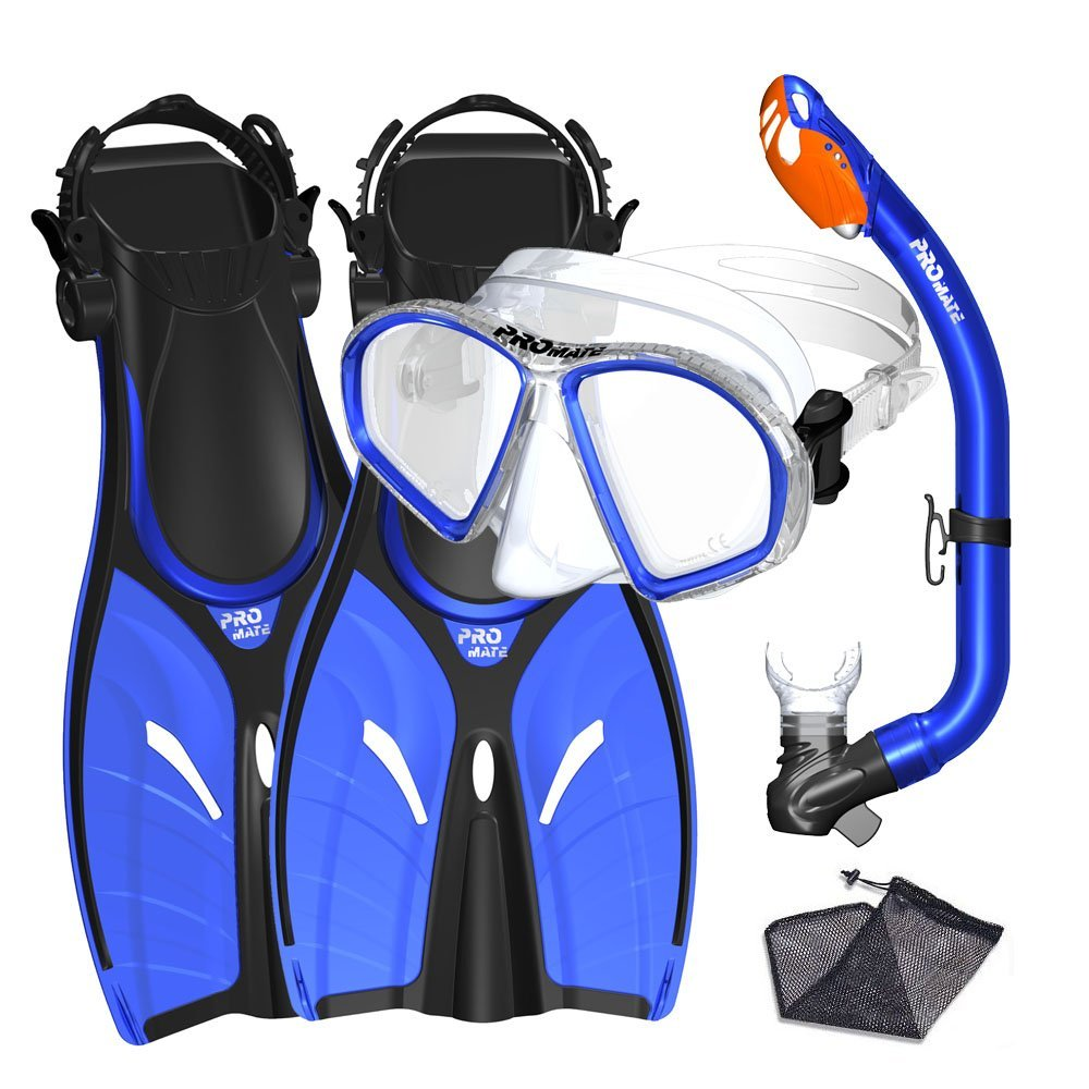 Promate Junior Mask Fins Snorkel Set for kids, Blue, SM