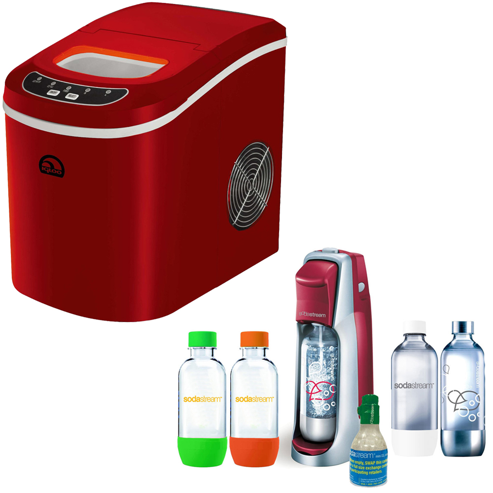 Igloo Compact Ice Maker (Red) with SodaStream Fountain Je...