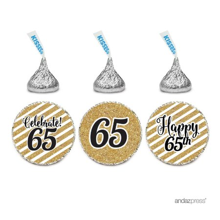 Milestone Chocolate Drop Labels Trio, Fits Hershey's Kisses Party Favors, 65th Birthday, 216-Pack, Not Real Glitter (65th Birthday Ideas)