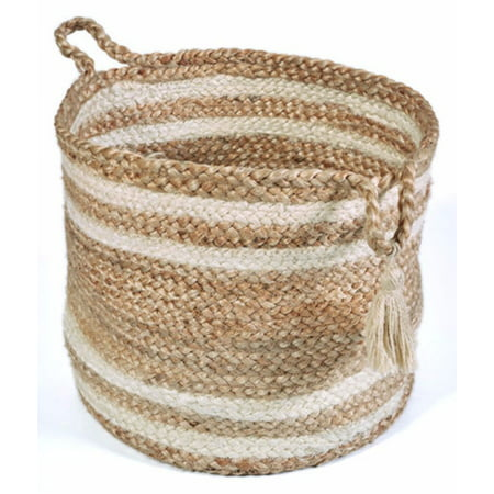"LR Home Natural Jute - 17"" X 17"" X 17"" Montego Braided Double Striped Decorative Storage Basket"
