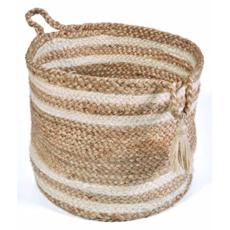 "LR Home Natural Jute - 17"" X 17"" X 17"" Montego Braided Double Striped Decorative Storage Basket"