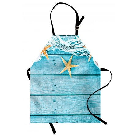 Starfish Apron Rustic Wood Boards Fishing Net and the Ocean Animals Nautical Print, Unisex Kitchen Bib Apron with Adjustable Neck for Cooking Baking Gardening, Turquoise White Orange, by Ambesonne ()