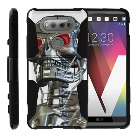 TurtleArmor ® | For LG V20 [Hyper Shock] Hybrid Dual Layer Armor Holster Belt Clip Case Kickstand - Terminator Robot