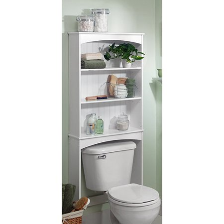 Three Shelf Wood Bathroom Spacesaving Unit White