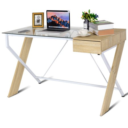 Costway Clear Glass Top Computer Desk Wood Metal Frame with Drawer Home Office Furniture ()