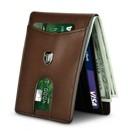 Njjex RFID Blocking Slim Bifold Genuine Leather Minimalist Front Pocket Wallets for