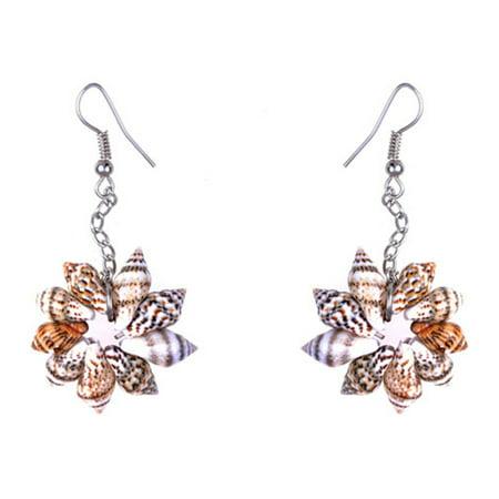 Sandy Tan Brown Colored Seashell Sea Shell Flower Design Fashion Drop Earrings