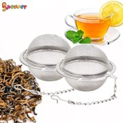 """SPENCER 2PCS 2.6"""" Stainless Steel Mesh Tea Ball Tea Infuser Strainers Spoon Tea Loose Leaves Spices Tea Interval Diffuser for Tea"""