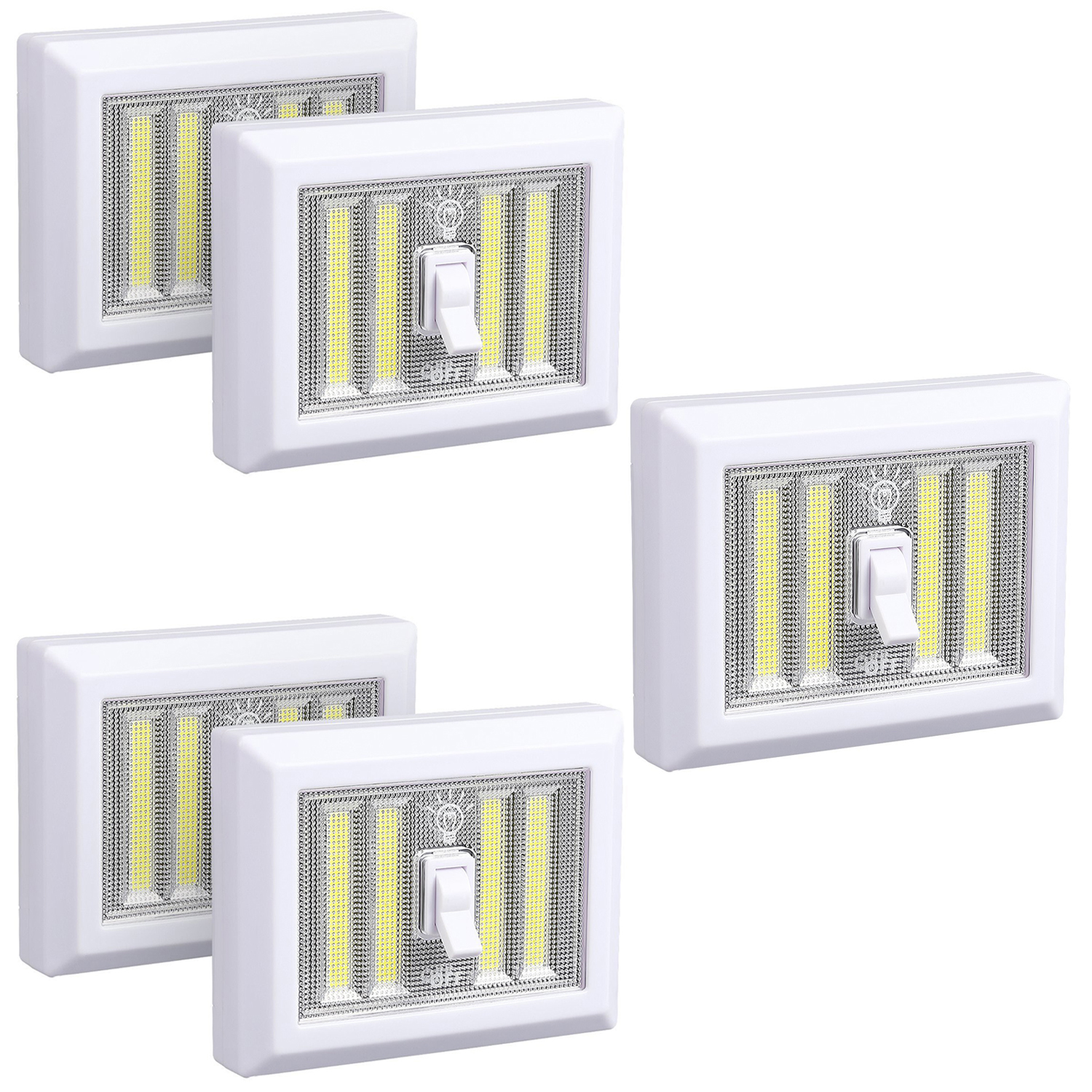 EEEKit Cordless Switch Lights 5-Pack, 4 COB LED Portable Night light, Wireless Wall Switch Operated Closet Lamp Tap Light Mount for Bedroom Bedroom/Closets/Cabinet/Shelf