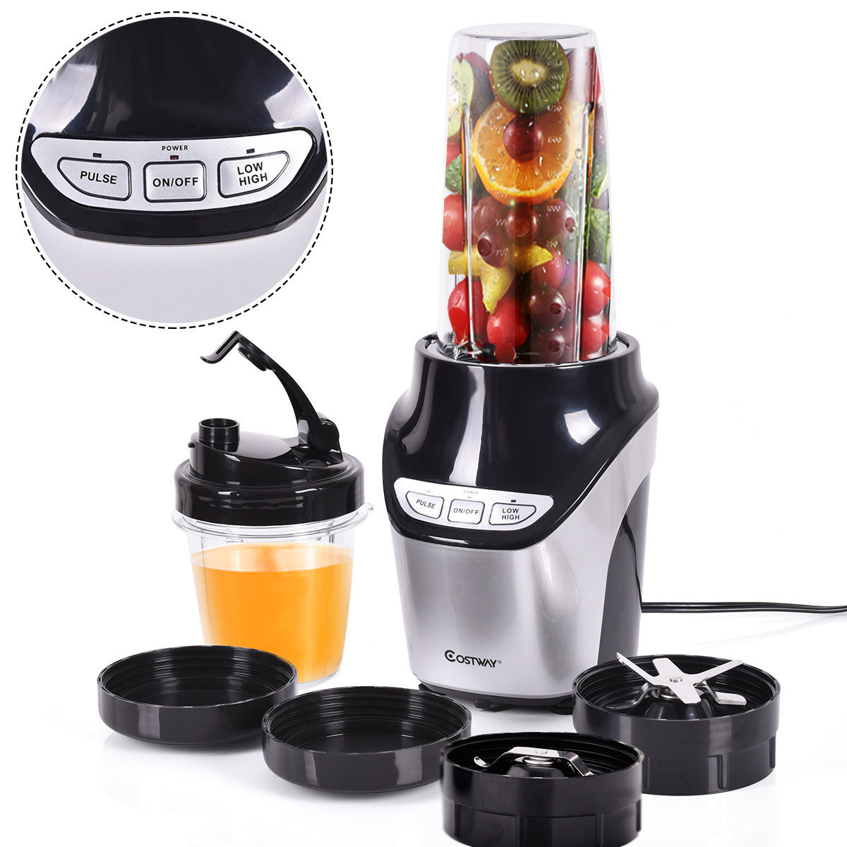 Costway Electric Blender Fruit Mixer Grinder Fruit Vegetable Processor 1000W 2 Speed