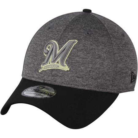 d7f54cd72560f Milwaukee Brewers New Era 39THIRTY Shadow Tech Color Pop Flex Hat -  Heathered Gray Black - Walmart.com