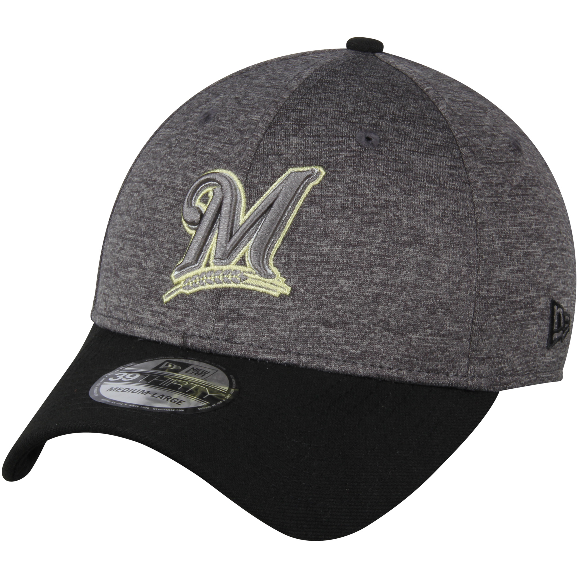 Milwaukee Brewers New Era 39THIRTY Shadow Tech Color Pop Flex Hat - Heathered Gray/Black