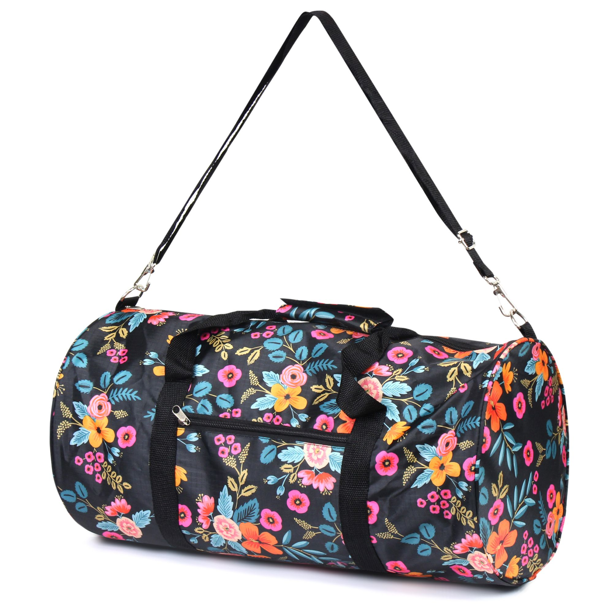 Flowers And Camera Duffel Style Carry On Sports Travel Bag with Shoulder Strap Zippered Compartments