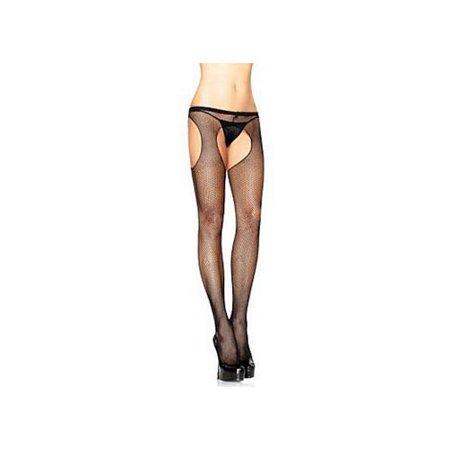 Black Fishnet Suspender Pantyhose Plus Size 1402QLEG_BL Black](Plus Size Suspender Pantyhose)