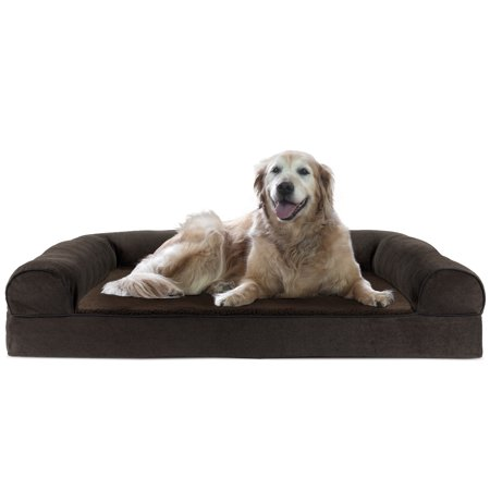 Chenille Pet Bed - FurHaven Pet Dog Bed | Cooling Gel Memory Foam Orthopedic Faux Fleece & Chenille Sofa-Style Couch Pet Bed for Dogs & Cats, Coffee, Jumbo