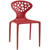 Modern Contemporary Urban Design Outdoor Kitchen Room Dining Chair, Red, Plastic