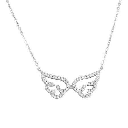 """Sterling Silver Simulated Diamond Angel Wings Necklace 18"""""""