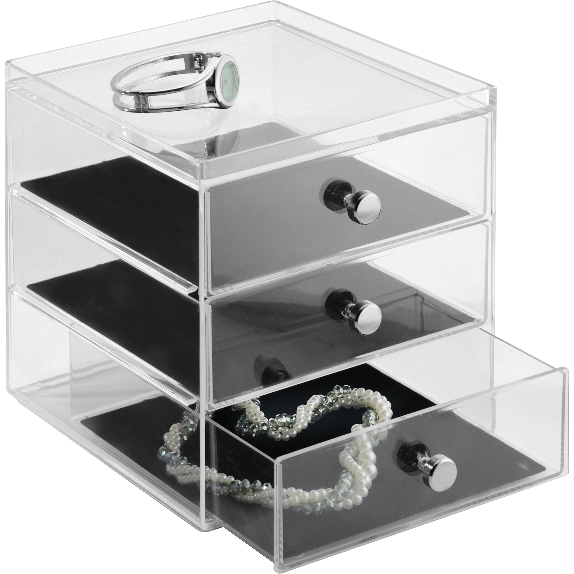 InterDesign Clarity Fashion Jewelry Organizer for Rings, Earrings, Bracelets, Necklaces, 3-Drawer, Clear/Black