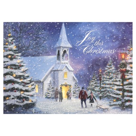 Holiday Time 18 Blue Scenes Church Cards Walmart Com