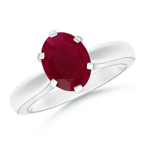 July Birthstone Ring - Tapered Shank Oval Solitaire Ruby Ring in Platinum (9x7mm Ruby) - SR0148R-PT-A-9x7-7