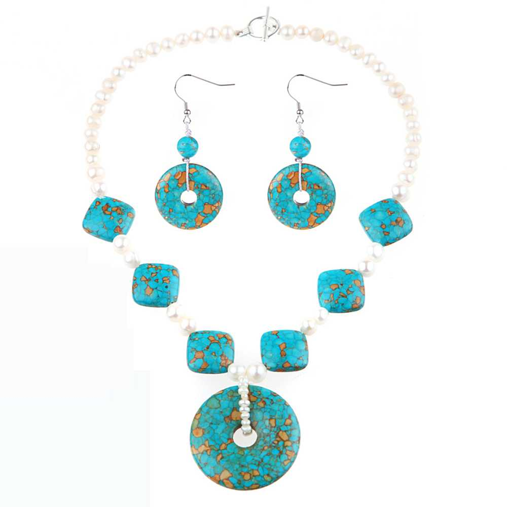 "20"" Handmade Turquoise Howlite & Cultured Freshwater Pearl Necklace earrings set"