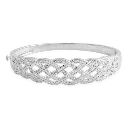 Women's Diamond Silvertone Accent Weaved Cuff Bangle Bracelet Jewelry Gift (Gold Diamond Cuff Bangle)