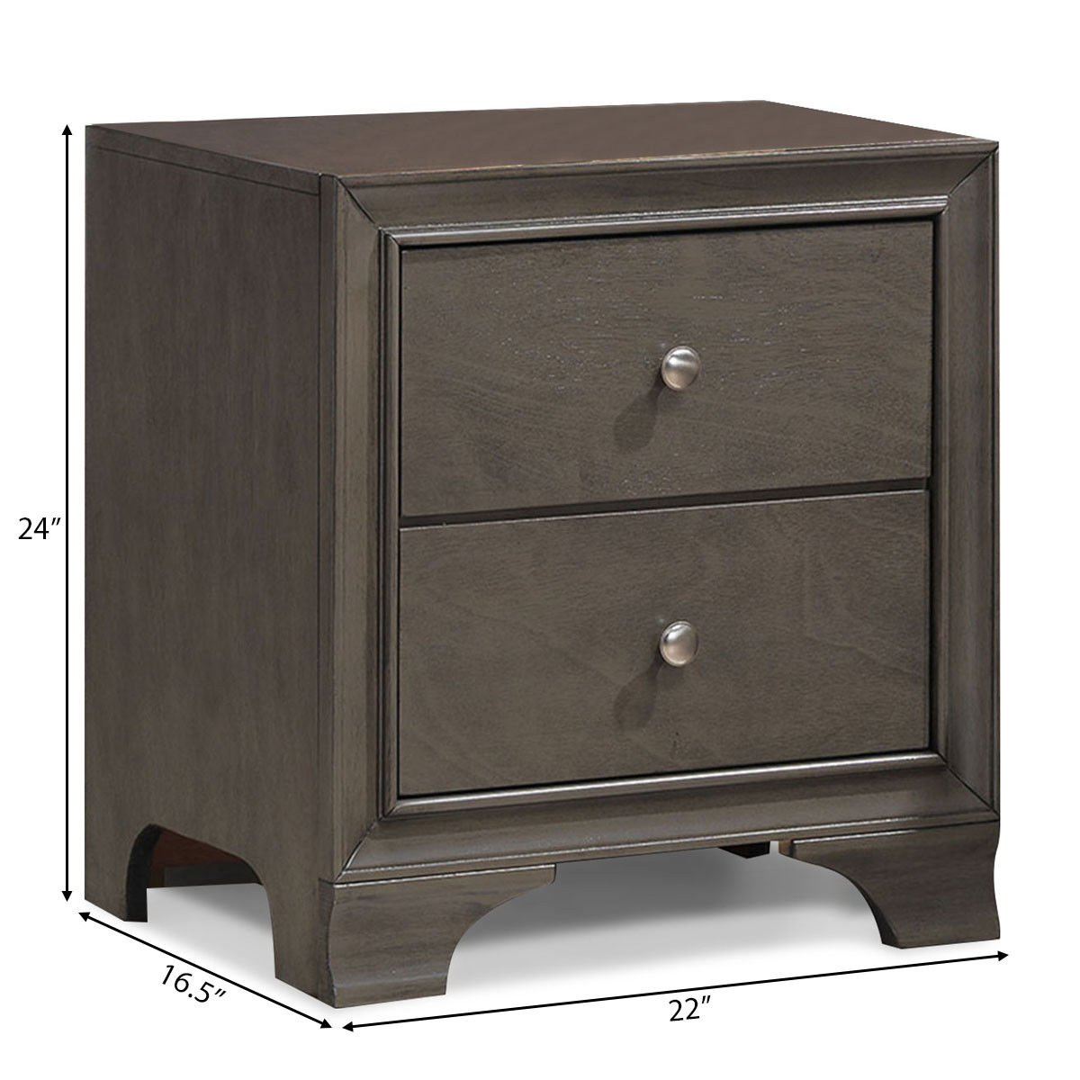 Gymax 2PCS 2 Drawers Nightstand Sofa Side End Table Storage Furniture W/USB Port Gray - image 4 of 10