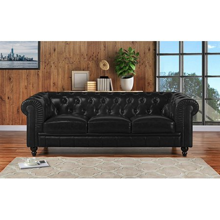 Classic Scroll Arm Real Leather Chesterfield Sofa (Black)