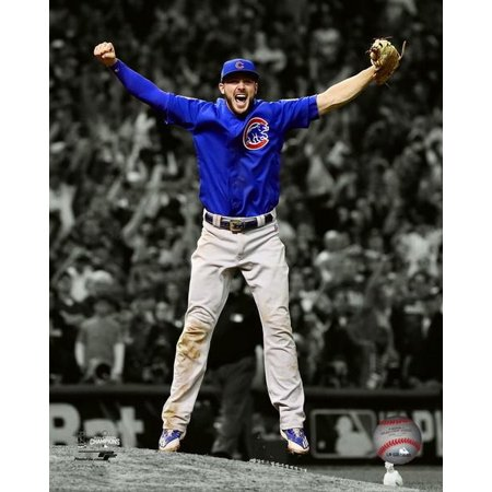 Kris Bryant celebrates the final out of Game 7 of the 2016 World Series Spotlight Photo Print Framed Photo World Series Game