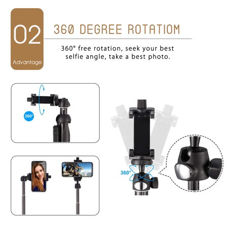 3-in-1 Handheld Selfie Stick Tripod Holder Extendable bluetooth Remote For Phone - image 5 of 12