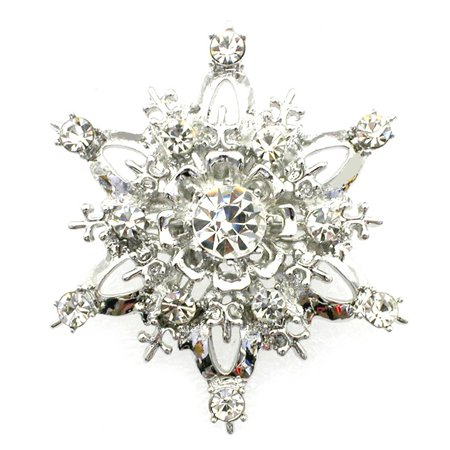 Gorgeous Crystal Snowflake Pin Brooch Bridesmaid Flower Girl Wedding Party